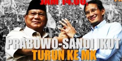 Jam 14 00, Prabowo Sandi Ikut Turun Ke MK