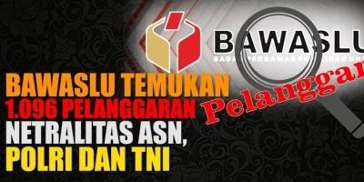 BAWASLU TEMUKAN 1 096 PELANGGARAN NETRALITAS ASN, POLRI DAN TNI