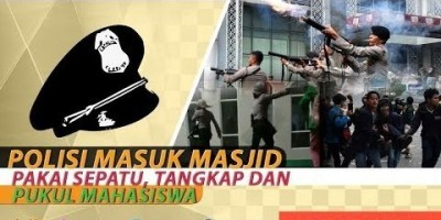 POLISI MASUK MASJID PAKAI SEPATU, TANGKAP DAN PUKUL MAHASISWA
